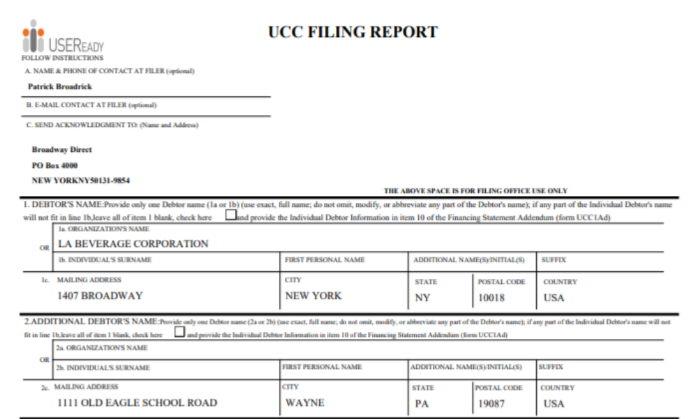 UCC Financing Statement
